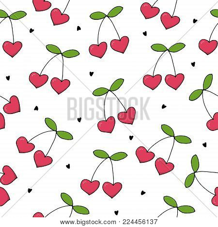 Valentine's day card. Cute hand drawn seamless pattern with cherry