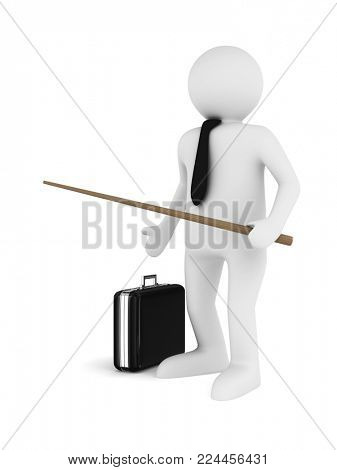 Men with pointer. Isolated 3d image