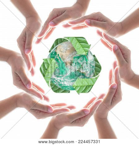 Collaborative Human Hands Protecting Green Planet With Recycle Arrow Sign Leaf Isolated On White Bac