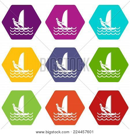 Man on windsurf icon set many color hexahedron isolated on white vector illustration
