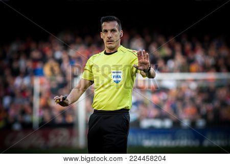 VALENCIA, SPAIN - JANUARY 27: Referee during Spanish La Liga match between Valencia CF and Real Madrid at Mestalla Stadium on January 27, 2018 in Valencia, Spain