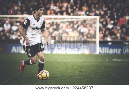 VALENCIA, SPAIN - JANUARY 27:Guedes  during Spanish La Liga match between Valencia CF and Real Madrid at Mestalla Stadium on January 27, 2018 in Valencia, Spain