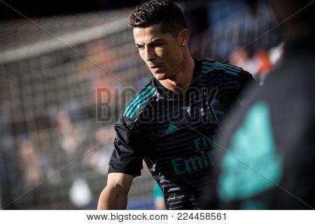 VALENCIA, SPAIN - JANUARY 27: Cristiano Ronaldo CR7 during Spanish La Liga match between Valencia CF and Real Madrid at Mestalla Stadium on January 27, 2018 in Valencia, Spain