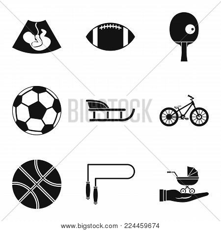 Youngster icons set. Simple set of 9 youngster vector icons for web isolated on white background