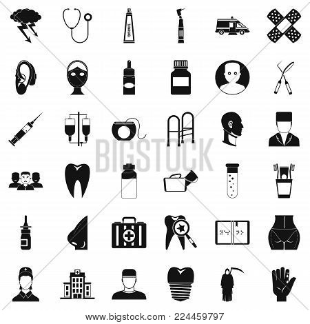 Pharmaceuticals icons set. Simple set of 36 pharmaceuticals vector icons for web isolated on white background poster