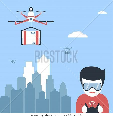 Young boy in glasses holding remote control and playing with unmanned aerial vehicle (quadrocopter). Air drone with box hovering in the sky above city landscape. Vector art. Flat design. Modern gadgets and technologies.