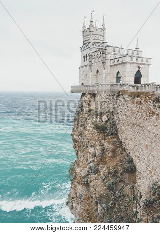 Swallow's Nest Castle on edge of cliff over Black sea, Crimea, Russia.