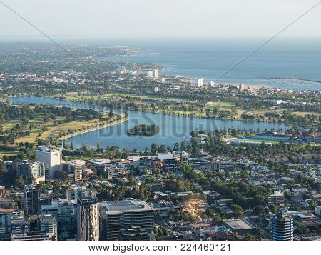 Melbourne, Australia - January 16, 2018: Albert Park Lake is the site of the Formula One Grand Prix. At other times the park hosts sailing, golf and cricket sports.