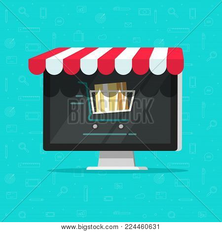 Online shop on computer vector illustration, e-commerce store, internet shop isolated, flat cartoon laptop as ecommerce on-line store with shopping cart on screen, digital showcase