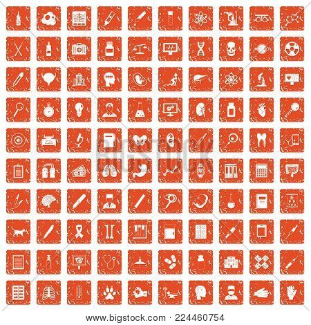 100 diagnostic icons set in grunge style orange color isolated on white background vector illustration