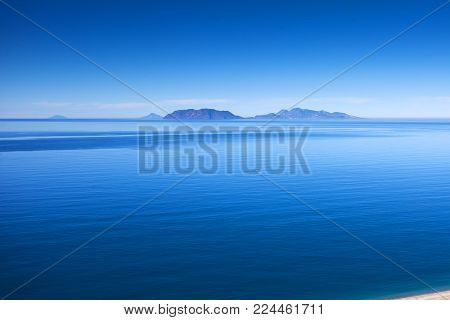 This is a view of Eolie island in Tyrrhenian sea in Sicily. Typical marine landscape from Messina coast.