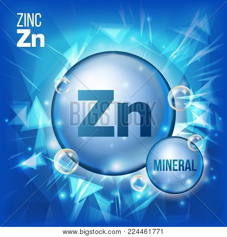 Zn Zinc Vector. Mineral Blue Pill Icon. Vitamin Capsule Pill Icon. Substance For Beauty, Cosmetic, Heath Promo Ads Design. Mineral Complex With Chemical Formula. Illustration