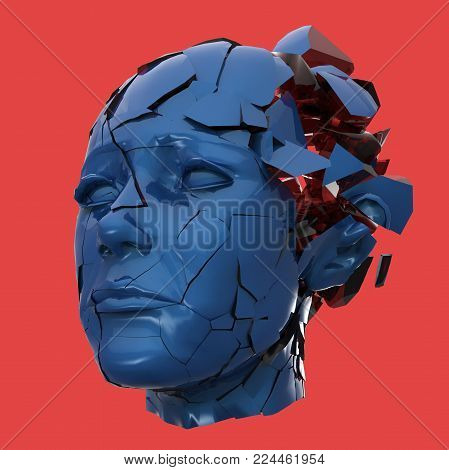 Glossy woman head exploding shattered - Headache, mental problems, stress, disaster concept illustration. High quality 3d render, isolated.