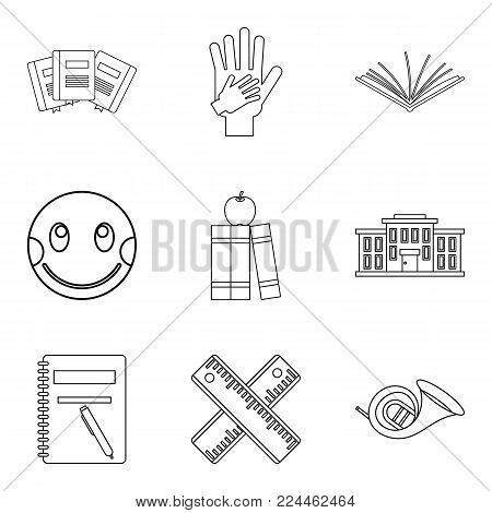Infant school icons set. Outline set of 9 infant school vector icons for web isolated on white background