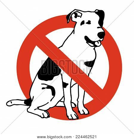No entry dogs. Prohibition of dog. Strict ban on walking the dog, forbidden. Stop animals. Vector black and white sitting dog, white background, isolated.