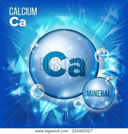 Ca Calcium Vector. Mineral Blue Pill Icon. Vitamin Capsule Pill Icon. Substance For Beauty, Cosmetic, Heath Promo Ads Design. Mineral Complex With Chemical Formula. Illustration