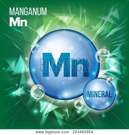 Mn Manganum Vector. Mineral Blue Pill Icon. Vitamin Capsule Pill Icon. Substance For Beauty, Cosmetic, Heath Promo Ads Design. Mineral Complex With Chemical Formula. Illustration