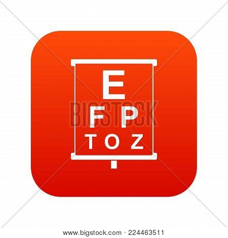 White placard with letters eyesight testing icon digital red for any design isolated on white vector illustration