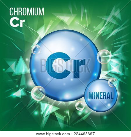 Cr Chromium Vector. Mineral Blue Pill Icon. Vitamin Capsule Pill Icon. Substance For Beauty, Cosmetic, Heath Promo Ads Design. Mineral Complex With Chemical Formula. Illustration