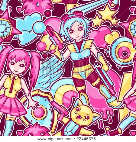Japanese anime cosplay seamless pattern. Cute kawaii characters and items. poster