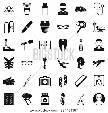 Medical treatment icons set. Simple set of 36 medical treatment vector icons for web isolated on white background