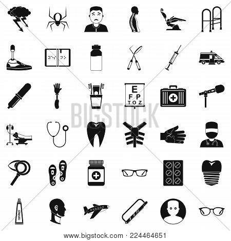 Medical manipulation icons set. Simple set of 36 medical manipulation vector icons for web isolated on white background