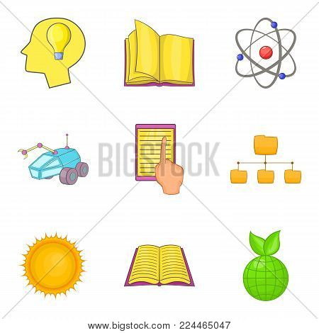 Academic icons set. Cartoon set of 9 academic vector icons for web isolated on white background