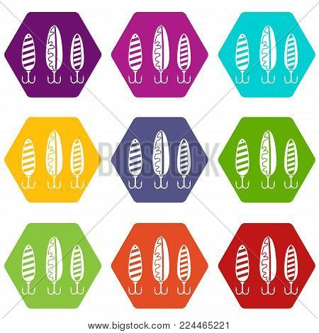 Plastic fishing lure icon set many color hexahedron isolated on white vector illustration