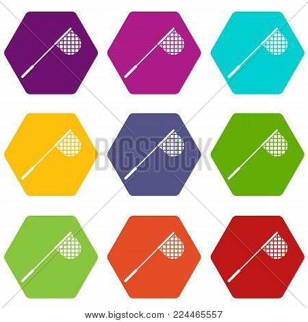 Fishing net icon set many color hexahedron isolated on white vector illustration