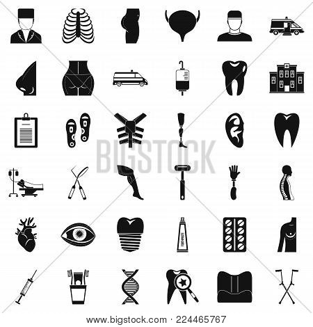 MD care icons set. Simple set of 36 md care vector icons for web isolated on white background