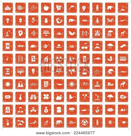 100 eco care icons set in grunge style orange color isolated on white background vector illustration