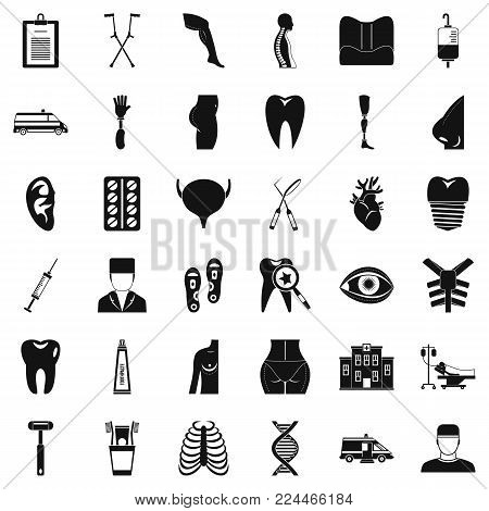 Care supervision icons set. Simple set of 36 care supervision vector icons for web isolated on white background poster
