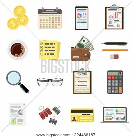 Set Auditing, Tax process calculation, Accounting icons in flat style. Calculator, Magnifying Glass, financial reports, Tax form, laptop, smartphone and money. Isolated vector illustration