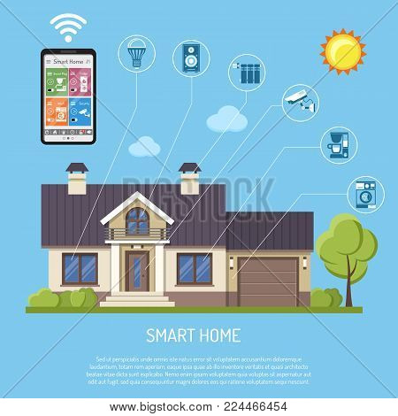Smart Home and internet of things concept. Smartphone controls smart house like security cam, lighting, radiator and music center flat icons. Isolated vector illustration