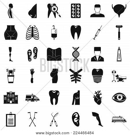 Doctor maintenance icons set. Simple set of 36 doctor maintenance vector icons for web isolated on white background