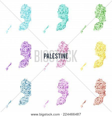 Vector dotted colourful map of Palestine. Set of different color solutions