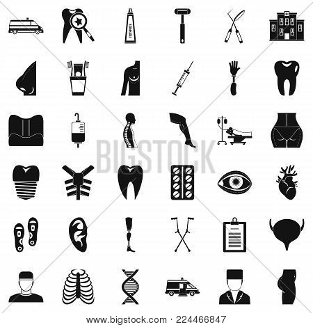 Apothecary icons set. Simple set of 36 apothecary vector icons for web isolated on white background