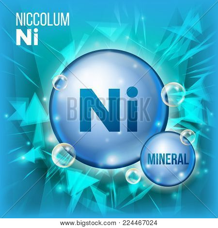 Ni Niccolum Vector. Mineral Blue Pill Icon. Vitamin Capsule Pill Icon. Substance For Beauty, Cosmetic, Heath Promo Ads Design. Mineral Complex With Chemical Formula. Illustration