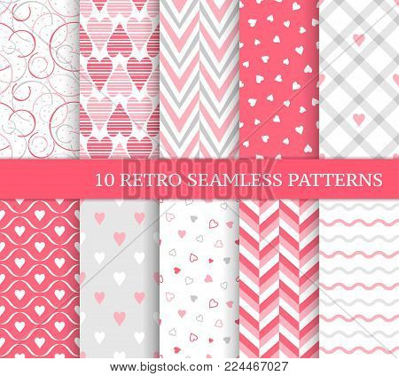 Ten different seamless patterns. Romantic pink backgrounds for Valentine's or wedding day. Endless texture for wallpaper, web page, wrapping paper and etc. Retro love style. Chevron, waves and hearts.