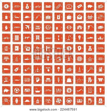 100 economy icons set in grunge style orange color isolated on white background vector illustration