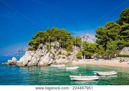 beautiful cozy Podrace beach in Brela, Makarska Riviera, Croatia