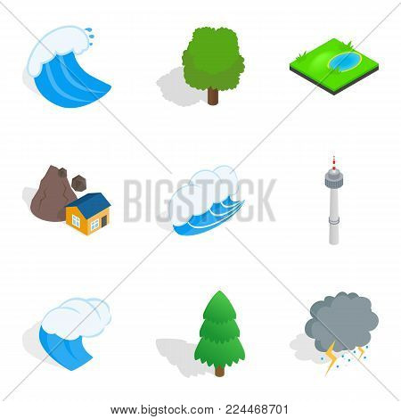 Strong point icons set. Isometric set of 9 strong point vector icons for web isolated on white background