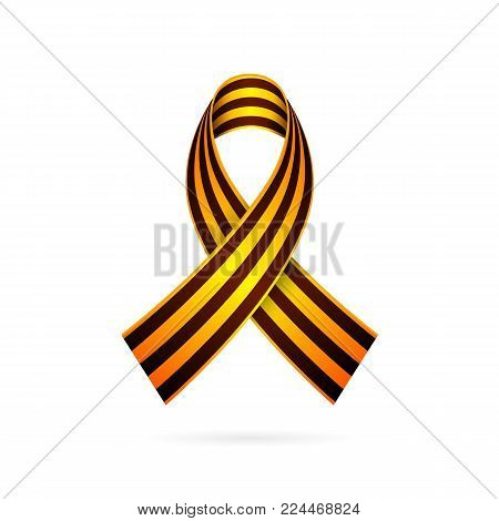 St. George Ribbon. The symbol of the day of victory and the day of the defender of the fatherland. Vector illustration on white background. Excellent festive gift card. Element for design. 9th May. February 23.