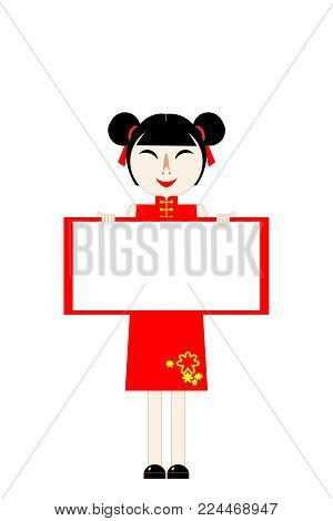 chinese new year card girl in red stand and hold blank board white space