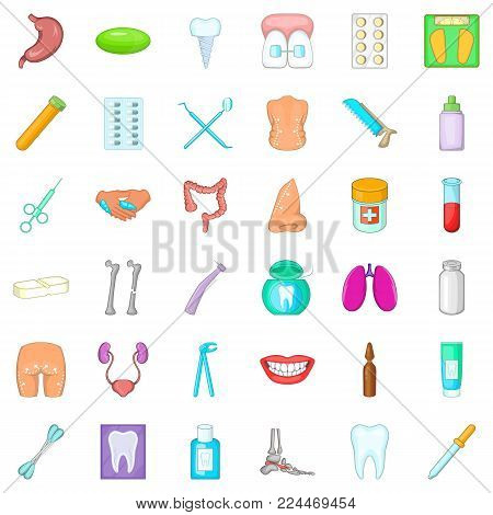Hygiene icons set. Cartoon set of 36 hygiene vector icons for web isolated on white background