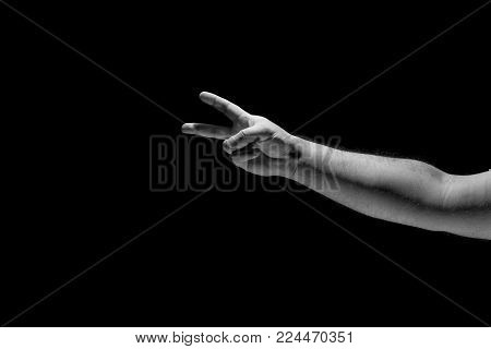 Hand gestures isolated on black background, arm,