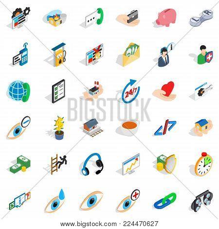 Medical assistance icons set. Isometric set of 36 medical assistance vector icons for web isolated on white background