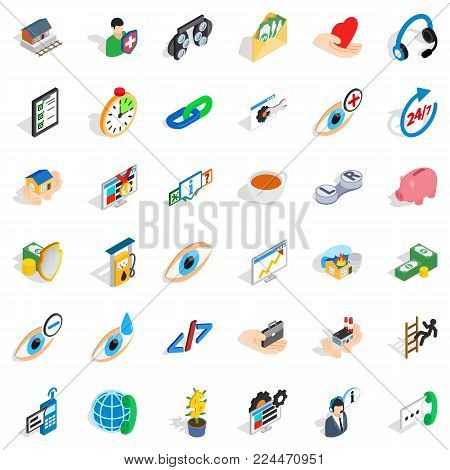 Rendering medical assistance icons set. Isometric set of 36 rendering medical assistance vector icons for web isolated on white background