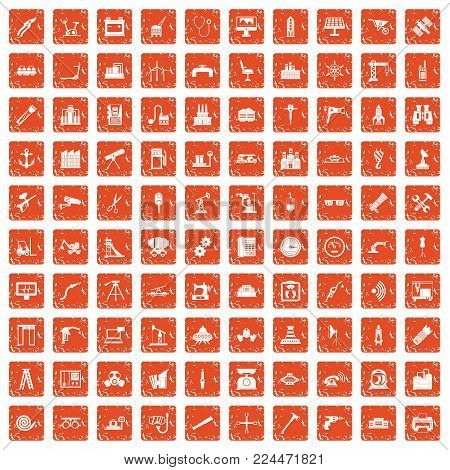 100 equipment icons set in grunge style orange color isolated on white background vector illustration