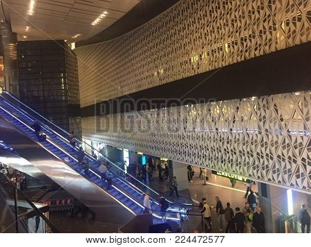 Doha, Qatar - June 2017 : Doha Hamad International Airport, Qatar. The main hall of Hamad International Airport, the international airport of Doha, the capital city of Qatar and one of the major airports in Middle East.